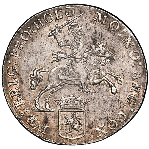 "Holland, United Netherlands, 1/2 ""rider"" ducatoon, 1766, PCGS AU55 (""top pop"")."