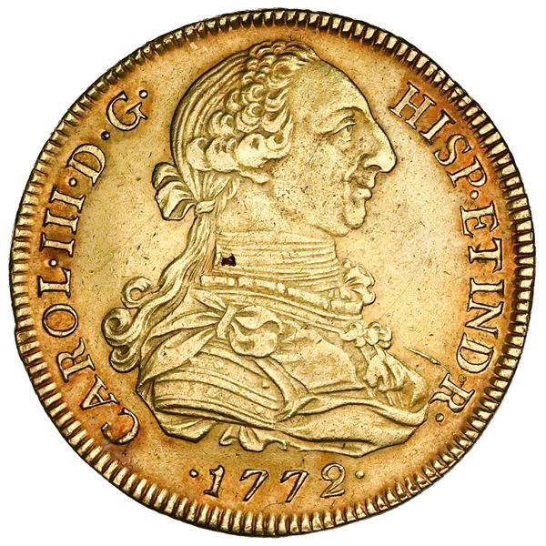 Lima, Peru, gold bust 8 escudos, Charles III, 1772JM, assayer to right, mintmark to left, NGC AU det