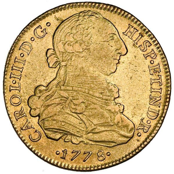 Lima, Peru, gold bust 8 escudos, Charles III, 1778MJ, NGC XF 40.
