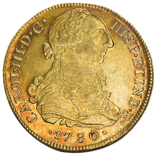 Lima, Peru, gold bust 8 escudos, Charles III, 1780MI, NGC AU 55.