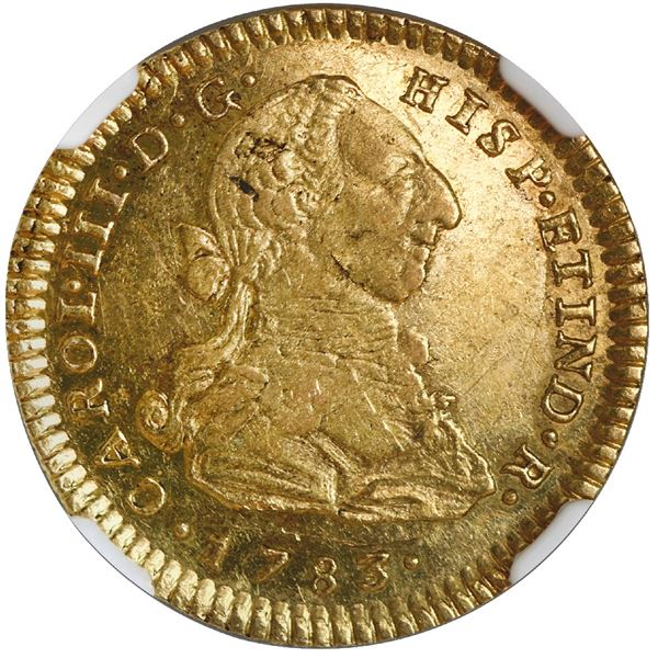 Lima, Peru, gold bust 2 escudos, Charles III, 1783MI, rare, NGC AU 58, finest known in NGC census.
