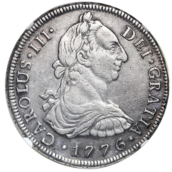 Lima, Peru, bust 8 reales, Charles III, 1776MJ, NGC XF 40.