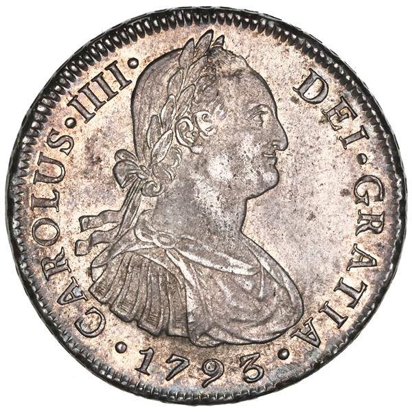 Lima, Peru, bust 8 reales, Charles IV, 1793IJ, NGC MS 61.