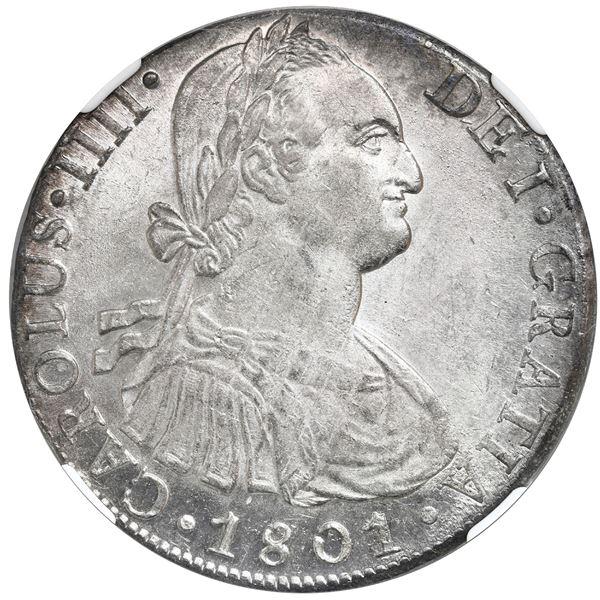 Lima, Peru, bust 8 reales, 1801IJ, Charles IV, NGC MS 61.