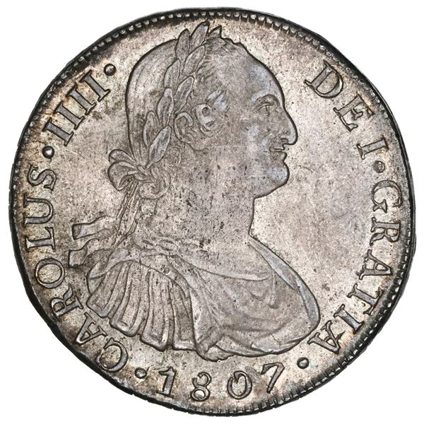Lima, Peru, bust 8 reales, Charles IV, 1807JP, NGC MS 63.