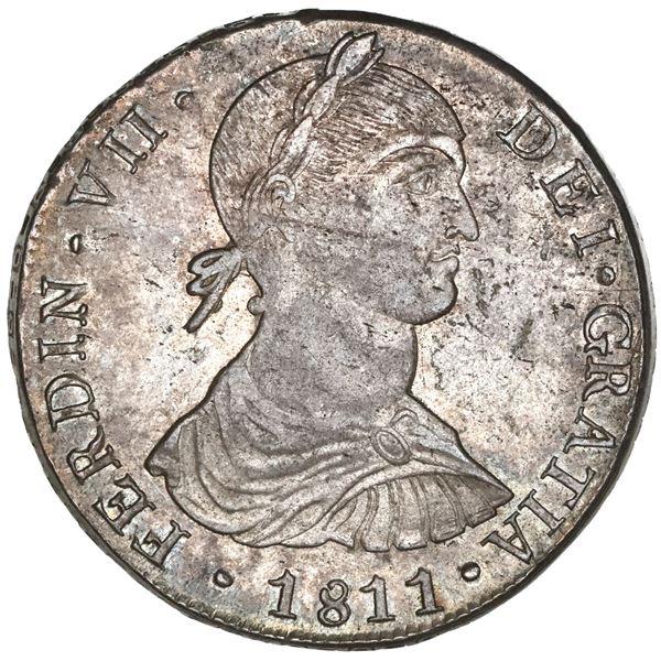 "Lima, Peru, bust 8 reales, Ferdinand VII transitional (""imaginary"" bust), 1811JP, long ribbons, NGC"