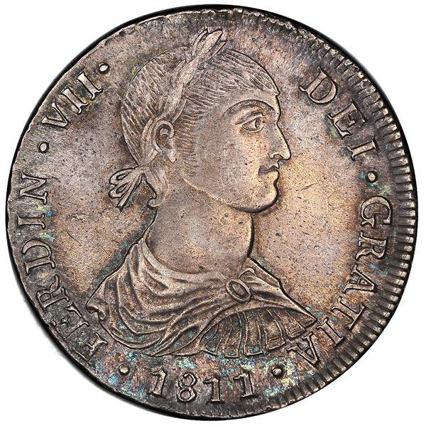 "Lima, Peru, bust 8 reales, Ferdinand VII transitional (""imaginary"" bust), 1811JP, short ribbons, PCG"