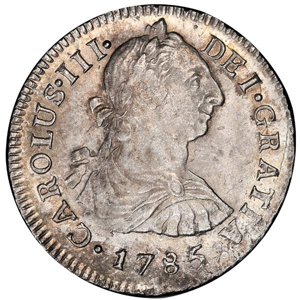 Lima, Peru, bust 2 reales, Charles III, 1785MI, PCGS MS64, finest known in PCGS census.