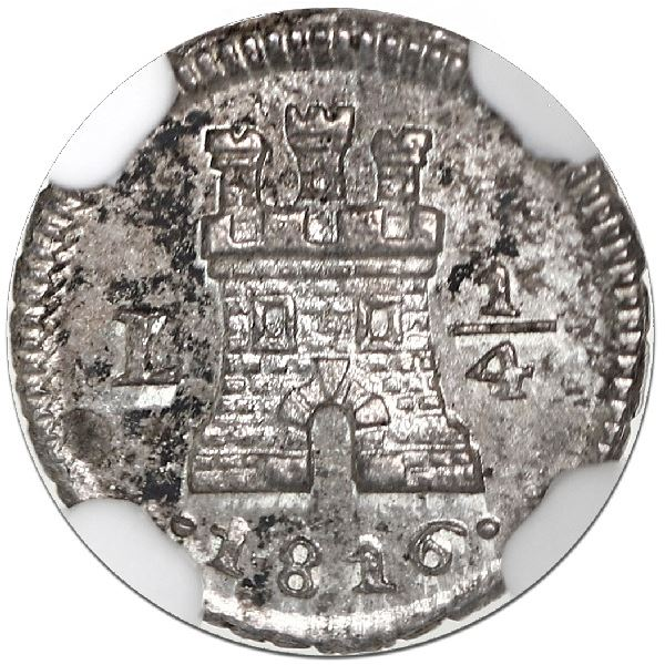 Lima, Peru, 1/4 real, 1816, NGC MS 65.