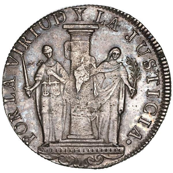 "Lima, Peru, provisional 8 reales, 1823JP, ""Peru Libre,"" NGC AU 55."