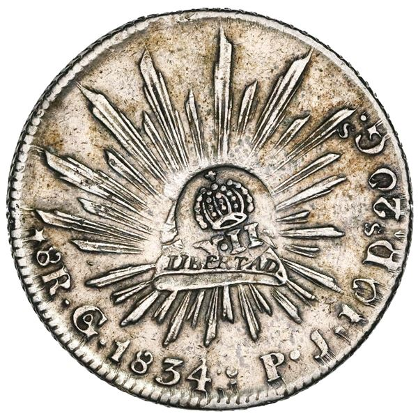 Philippines (under Spain), 1 peso, Isabel II, crowned-Y.II countermark (1837) on a Guanajuato, Mexic
