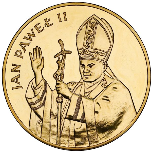 Poland, gold 10000 zlotych, 1982-CHI, visit by Pope John Paul II, NGC MS 64.