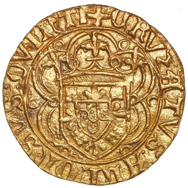 Lisbon, Portugal, gold cruzado, Afonso V (1438-81, struck 1457-81), dot below cross and ringlet in b