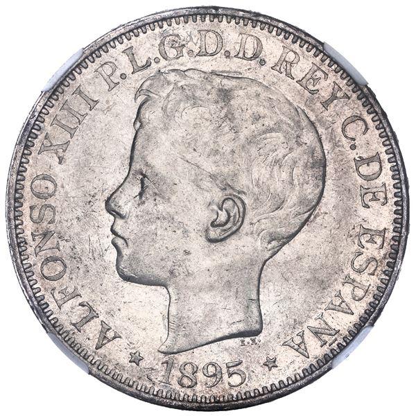 Puerto Rico (under Spain), 1 peso, Alfonso XIII, 1895PG-V, NGC AU 55.