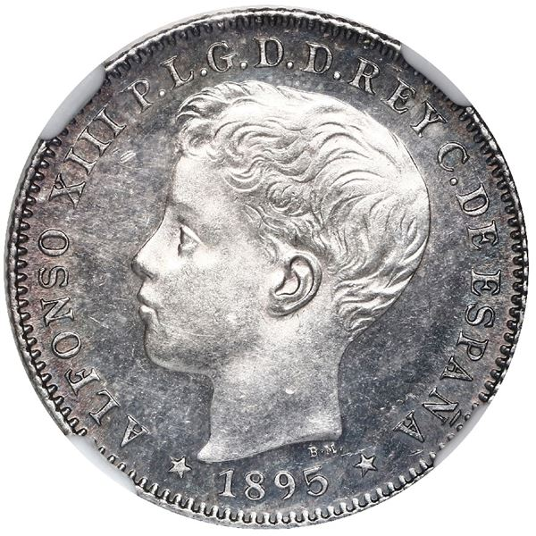 Puerto Rico (under Spain), 20 centavos, Alfonso XIII, 1895PG-V, NGC MS 62.