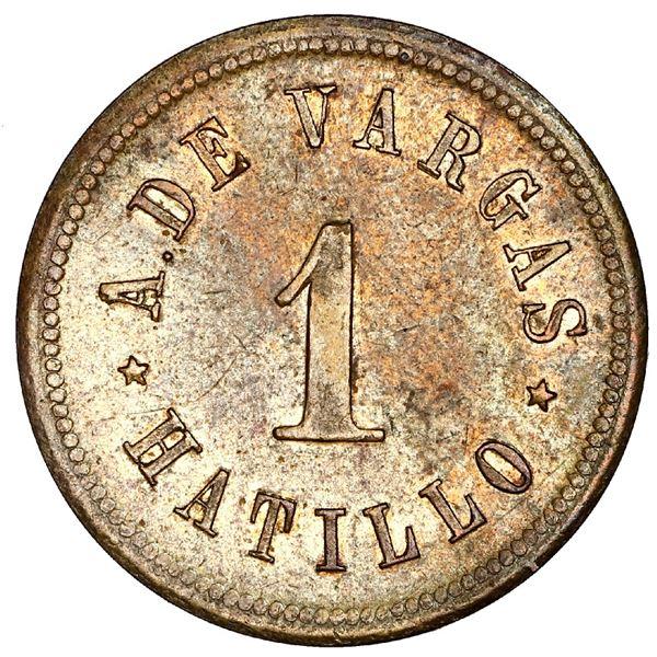Hatillo, Puerto Rico, brass 1 centavo token, A. de Vargas (ca. 1880), very rare, ex-Roehrs.