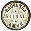 Image 2 : San German Municipio, Puerto Rico, brass 10 almudes token, Hacienda Filial Amor (ca. 1880), very rar