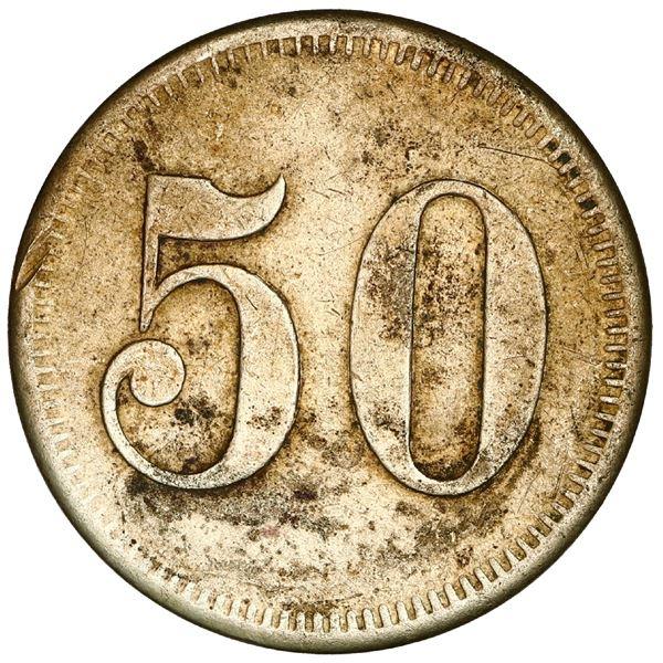 San German Municipio, Puerto Rico, brass 50 almudes token, Hacienda Filial Amor (ca. 1880), very rar