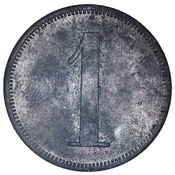 San German Municipio, Puerto Rico, zinc 1 almud token, Hacienda Filial Amor (ca. 1880), very rare, e