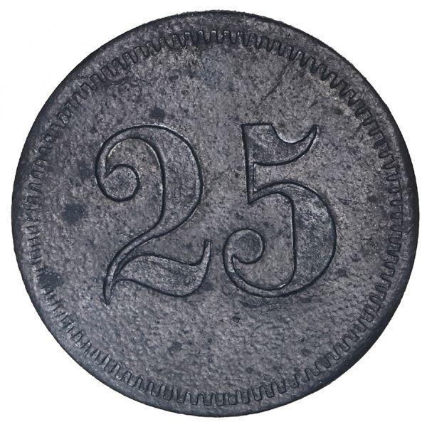 San German Municipio, Puerto Rico, zinc 25 almudes token, Hacienda Filial Amor (ca. 1880), very rare