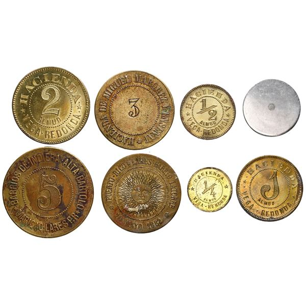 Lot of eight Puerto Rican tokens, various dates and denominations, mostly late 1800s.
