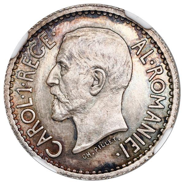 Romania (struck at the Paris mint), silver essai 1 leu, Carol I, 1914, NGC PF 63.