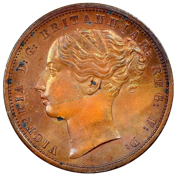 Griquatown, South Africa, bronze pattern penny, Victoria, 1890, rare, NGC PF 62 BN.