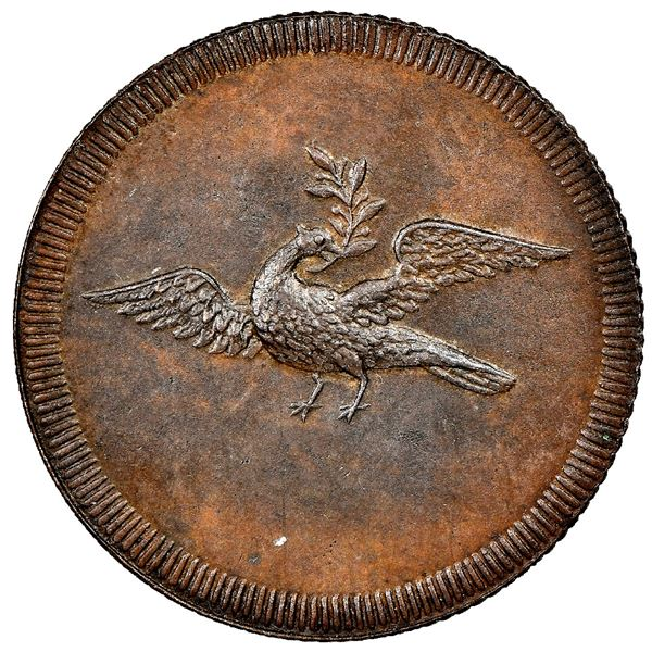 Griquatown, South Africa, copper 1/2 penny, no date (1815-16), diagonally reeded edge, rare, NGC UNC