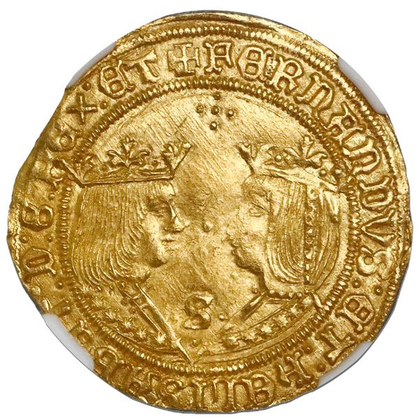 Seville, Spain, gold double excelente, Ferdinand-Isabel, cross of five dots at top and mintmark S wi