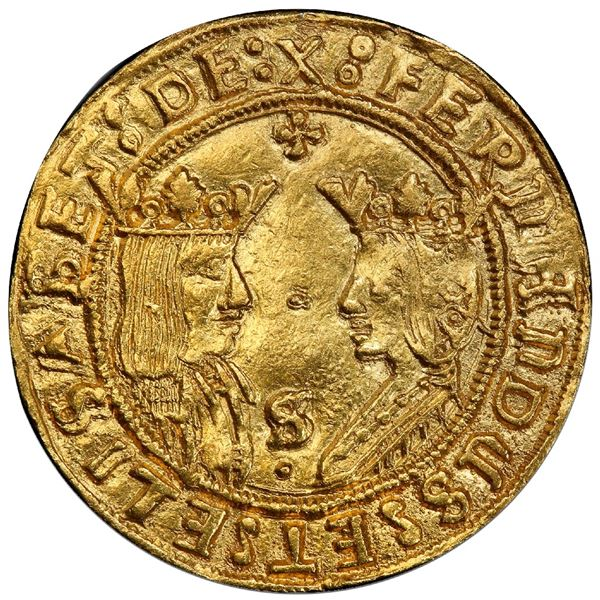 Seville, Spain, gold double excelente, Ferdinand-Isabel, cross at top and S-over-dot at bottom betwe