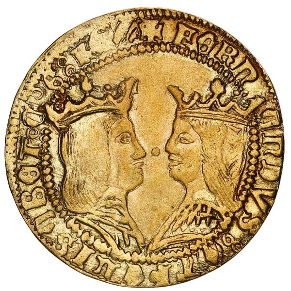 Granada, Spain, gold double excelente, Ferdinand-Isabel, mintmark G (Gothic) to left and cross-shape