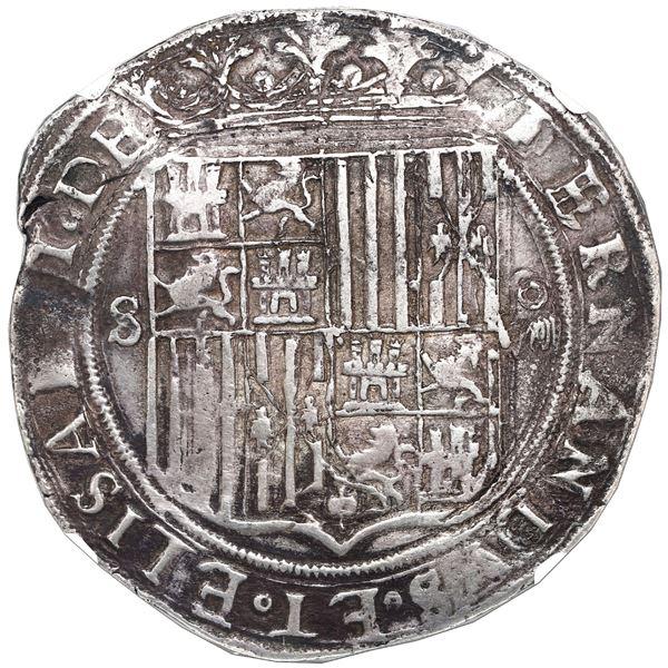 Seville, Spain, 8 reales, Ferdinand-Isabel, mintmark S to left, denomination o-VIII to right, assaye
