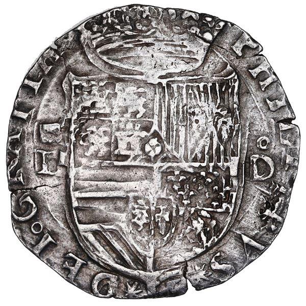 Segovia, Spain, cob 2 reales, Philip II, mintmark aqueduct over denomination II to left, assayer oD