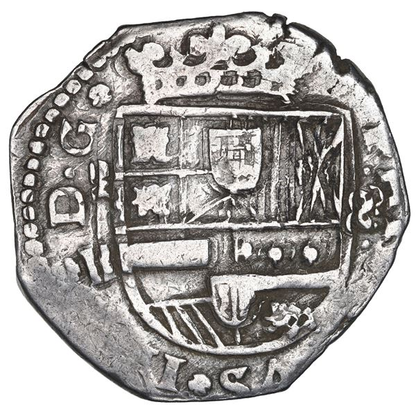 Madrid, Spain, cob 8 reales, 1643B, retrograde 4.