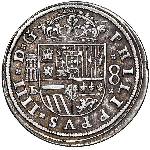 Segovia, Spain, milled 8 reales, Philip IV, 1660BR, NGC AU 50.