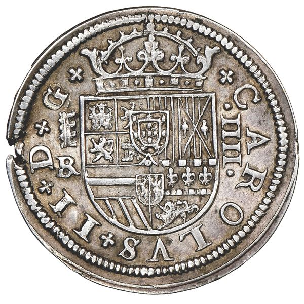 Segovia, Spain, milled 4 reales, Charles II, 1683BR, three-arch aqueduct, NGC AU 55.