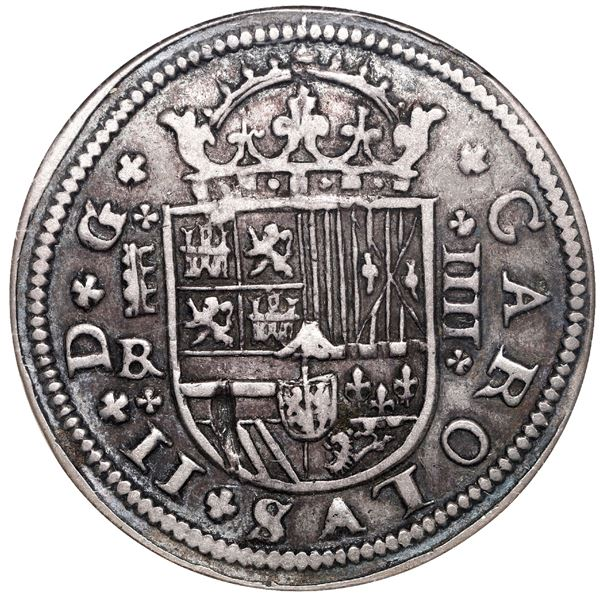 Segovia, Spain, milled 4 reales, Charles II, 1684BR, ANACS VF 30.