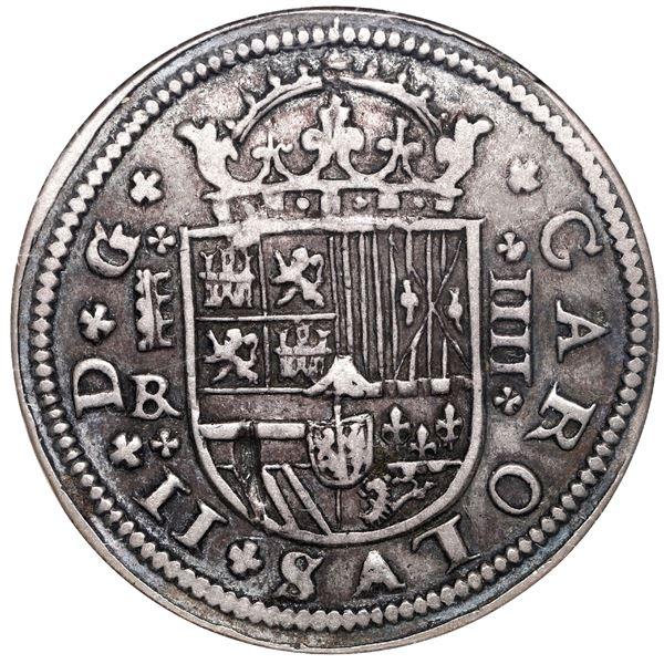 Segovia, Spain, milled 4 reales, Charles II, 1684BR, ANACS VF 30.