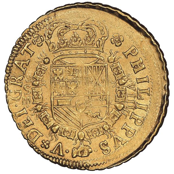 Seville, Spain, gold milled 8 escudos, Philip V, 1701M, mintmark-assayer and denomination on obverse