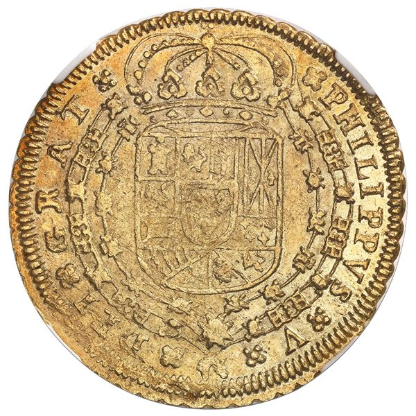 Seville, Spain, gold milled 8 escudos, Phillip V, 1712M, assayer at top right, mintmark at lower lef
