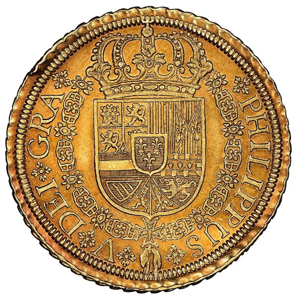 Segovia, Spain, gold milled 8 escudos, Philip V, 1721/19F, rare, NGC AU 58+, finest known in NGC cen