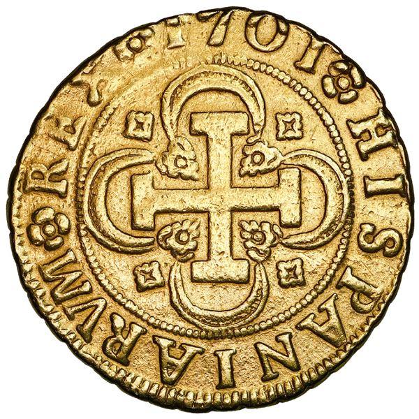 Seville, Spain, gold milled 4 escudos, Philip V, 1701M, mintmark-assayer and denomination on obverse