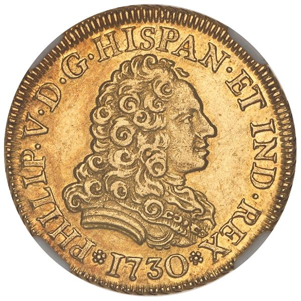 Madrid, Spain, gold bust 2 escudos, Philip V, 1730 (no assayer), NGC MS 61.