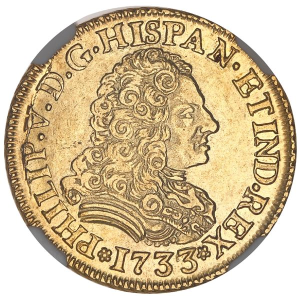 Seville, Spain, gold bust 2 escudos, Philip V, 1733/2PA, unique overdate, NGC AU 55, finest and only