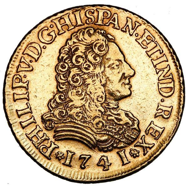 Seville, Spain, gold bust 2 escudos, Philip V, 1741PJ.