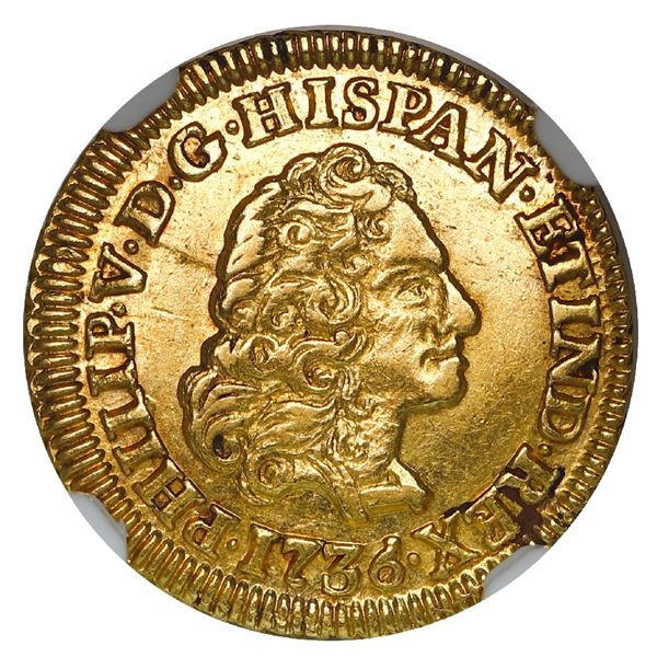 Madrid, Spain, gold bust 1 escudo, Philip V, 1736JF, NGC AU 55, finest and only example in NGC censu