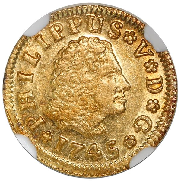 Seville, Spain, gold bust 1/2 escudo, Philip V, 1745/4PJ, NGC MS 62, finest known in NGC census.
