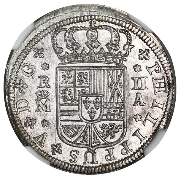 "Madrid, Spain, milled 2 reales ""pistareen,"" Philip V, 1723A, NGC MS 65, finest known in NGC census."
