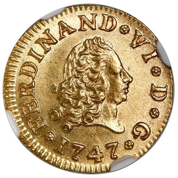 Madrid, Spain, gold bust 1/2 escudo, Ferdinand VI, 1747JB, NGC MS 63.