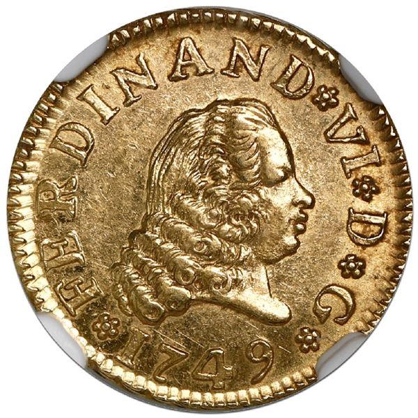 "Madrid, Spain, gold bust 1/2 escudo, Ferdinand VI, 1749JB, NGC MS 63 (""top pop"")."